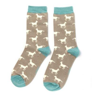 Miss Sparrow Socken Bamboo Horses grey