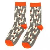 Miss Sparrow Socks Bamboo Llamas grey