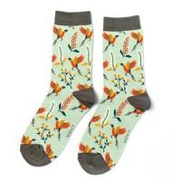 Miss Sparrow Socks Bamboo Pheasants & Flowers duck egg