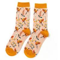 Miss Sparrow Socks Bamboo Pheasants & Flowers dusky pink