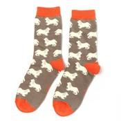 Miss Sparrow Socks Bamboo Spaniels grey
