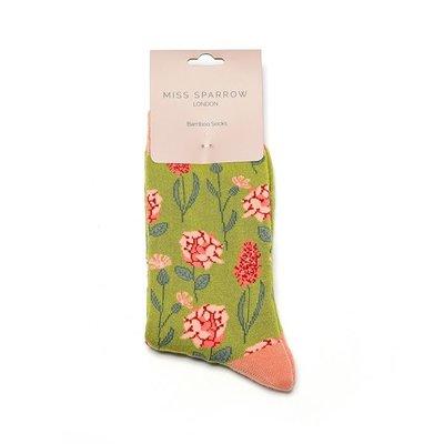 Miss Sparrow Socken Bamboo Botany olive