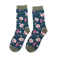 Miss Sparrow Socken Bamboo Botany teal