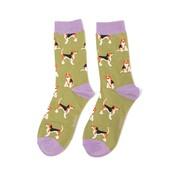 Miss Sparrow Socks Bamboo Beagle olive