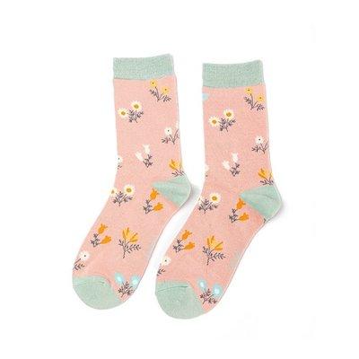 Miss Sparrow Socks Bamboo Dainty Floral dusky pink