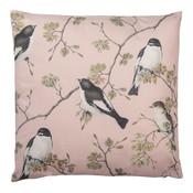 Clayre & Eef Cushion 45 x 45 Magnolia Birds pink