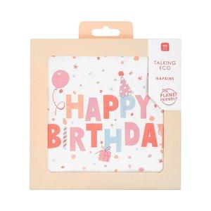 Talking Tables Paper Napkins Rose Eco Happy Birthday