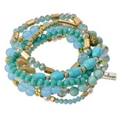 Clayre & Eef Armbänder Juleeze turquoise/gold