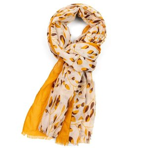 M&K Collection Scarf Little Leaves mustard