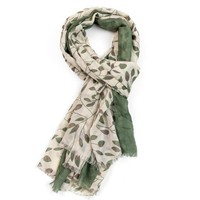 M&K Collection Scarf Little Leaves green