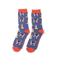 Miss Sparrow Mens Socks Bamboo Beagle Pups denim