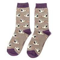 Miss Sparrow Socken Bamboo Storks grey