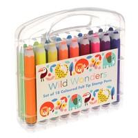 Rex London Felt Tip Stamp Pens Set  of 18 Wild Wonders