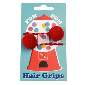 Rex London Haarspangen Pom Pom red