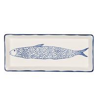 Clayre & Eef Schale rectangular Fish blue