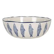 Clayre & Eef Schale round large Fish blue