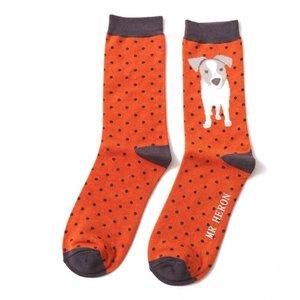 Miss Sparrow Mens Socks Bamboo Jack Russel Pup orange