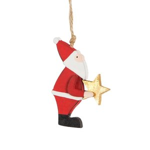 Sass & Belle Christmas hanger Wooden Santa holding Star
