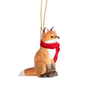 Sass & Belle Christmas hanger Wooden Sitting Fox with Scarve