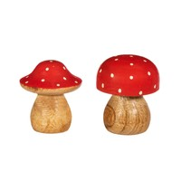 Sass & Belle Christmas Standing Decoration Wooden Mushroom small red assorti