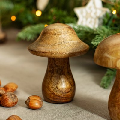Sass & Belle Christmas Standing Decoration Wooden Toadstool natural