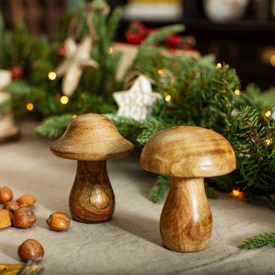 Sass & Belle Weihnachtsdekoration Standing Wooden Mushroom natural