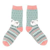 Miss Sparrow Socks Bamboo Sheep Friends aqua
