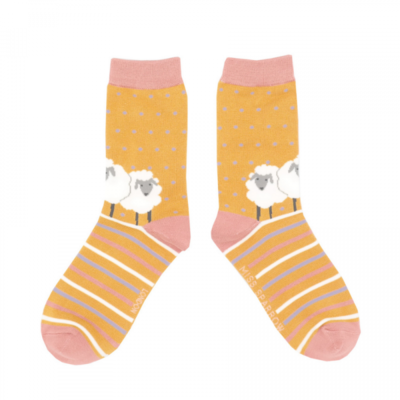 Miss Sparrow Socks Bamboo Sheep Friends mustard