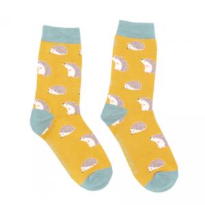 Miss Sparrow Socks Bamboo Cute Hedgehogs yellow