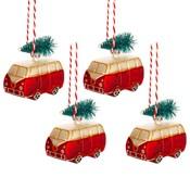 Sass & Belle Christmas Decoration Mini Campervan Set of 4