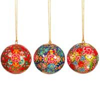 Sass & Belle Weihnachtskugel Paper Mache Kashmiri Floral assorti