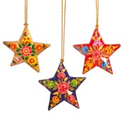 Sass & Belle Christmas Ball Paper Mache Star Kashmiri Floral assorti