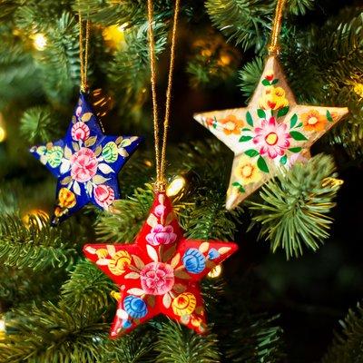 Sass & Belle Weihnachtskugel Paper Mache Star Kashmiri Floral assorti