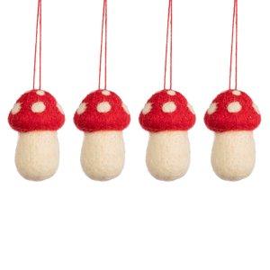 Sass & Belle Christmas hanger Mushrooms Set of 4
