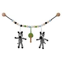 Sindibaba Kinderwagenkette Zebra (Bio-Baumwolle) mit Rassel (toy-rings)