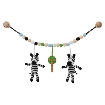 Sindibaba Stroller chain Zebra (organic cotton) with rattle (toy-rings)