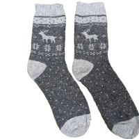 Joya Socks Men Wollmix Doublewarmth Reindeer grey