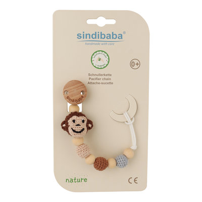 Sindibaba Pacifier clip with Monkey brown