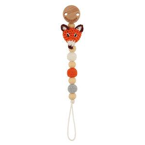 Sindibaba Pacifier clip with Fox orange
