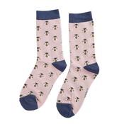 Miss Sparrow Socks Bamboo Honey Bees dusky pink