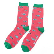 Miss Sparrow Mens Socks Bamboo Little Fish red