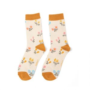 Miss Sparrow Socks Bamboo Dainty Floral ivory