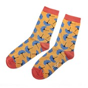 Miss Sparrow Socks Bamboo Ginkgo Leaves mustard