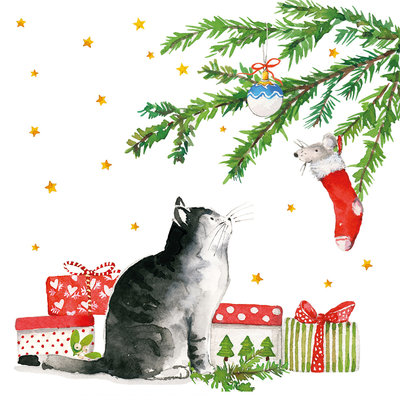 Paperproducts Design Paper Napkins Christmas Cat