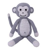 Sindibaba Monkey Charlie with rattle,  grey