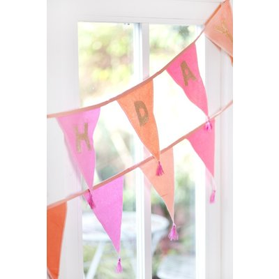 Talking Tables Bunting Fabric We love Birthdays pink embroidered