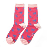 Miss Sparrow Socks Bamboo Cats red