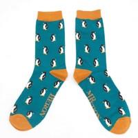 Miss Sparrow Männer-Socken Bamboo Little Penguins teal