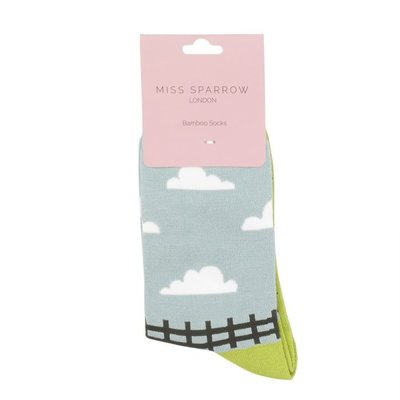 Miss Sparrow Socken Bamboo Sheep Meadows green