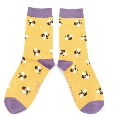 Miss Sparrow Socks Bamboo Buzzy Bees yellow
